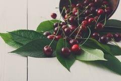 Bacia fresca das cerejas na madeira branca Foto de Stock