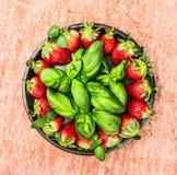 A bacia grande com morangos e manjericão frescas sae no fundo textured vermelho Fotos de Stock Royalty Free