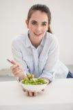 Bacia moreno bonita comer de salada Imagem de Stock