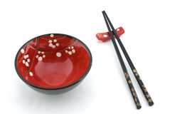 Bacia oriental e chopsticks Foto de Stock