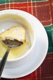 Bacia vazia de sopa com pão e colher na bacia Imagens de Stock