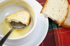 Bacia vazia de sopa com pão e colher na bacia Fotografia de Stock
