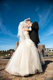 Baciare delle coppie di cerimonia nuziale Fotografie Stock