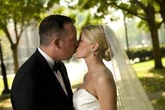 baciare dello sposo della sposa Immagini Stock