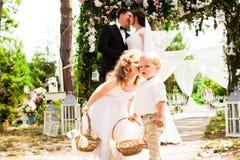 Baciare dello sposo e della sposa Fotografia Stock