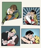 Baciare gli amanti Insieme delle illustrazioni di vettore Illustrazione di Stock