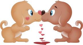 Baciare i cani dei biglietti di S. Valentino Immagini Stock Libere da Diritti