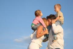 Baciare i genitori Immagini Stock Libere da Diritti