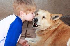 Baciare il cane Fotografia Stock