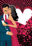 Baciare il fondo dei cuori e delle coppie Immagine Stock Libera da Diritti