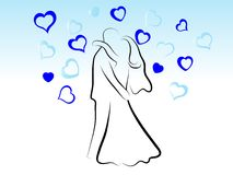Baciare le coppie di cerimonia nuziale Immagine Stock