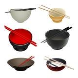 Bacias & chopsticks asiáticos Imagens de Stock