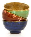 Bacias cerâmicas asiáticas coloridas foto de stock royalty free