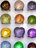 Bacias coloridas do coco Imagens de Stock