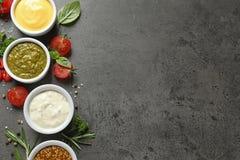 Bacias com molhos e os ingredientes diferentes, configuração lisa Espa?o para o texto fotografia de stock