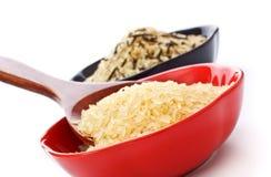Bacias de arroz cru Imagem de Stock Royalty Free