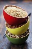 Bacias de arroz cru Imagens de Stock Royalty Free