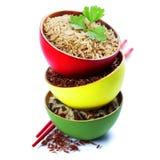 Bacias de arroz uncooked Fotos de Stock Royalty Free