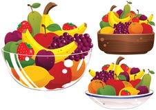 Bacias de fruto sortidos Imagem de Stock