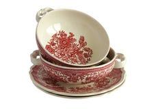 Bacias de sopa vazias da porcelana foto de stock royalty free