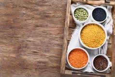 Bacias de tipos diferentes lentilhas foto de stock royalty free