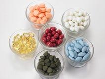 Bacias de vária medicina Fotografia de Stock Royalty Free