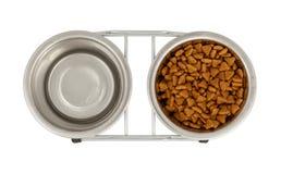 Bacias do metal para cães e gato imagem de stock