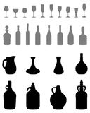 Bacias, garrafas, vidros Foto de Stock Royalty Free