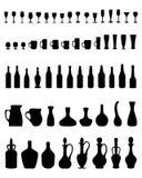 Bacias, garrafas, vidros Fotos de Stock Royalty Free