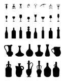 Bacias, garrafas, vidros e corkscrew Fotos de Stock