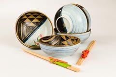 Bacias japonesas e Hashi Imagens de Stock Royalty Free