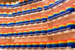 Bacias plásticas coloridas Fotografia de Stock