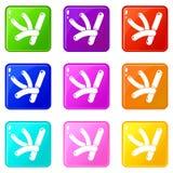 Bacilli raccolta di colore dell'insieme 9 delle icone royalty illustrazione gratis