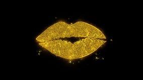 Bacimi labbra scritte con i fuochi d'artificio dorati delle scintille delle particelle illustrazione vettoriale