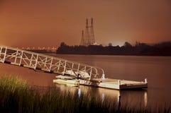 Bacino del fiume di Housatonic alla notte Immagine Stock