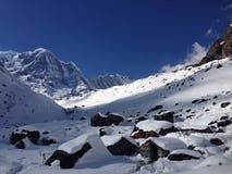 Bacino di Annapurna, campo base di Annapurna Immagini Stock