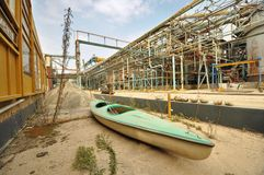 Bacino di carenaggio della canoa Fotografia Stock