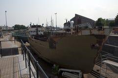 Bacino di carenaggio della vecchia nave Fotografia Stock Libera da Diritti