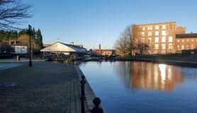 Bacino di carenaggio di Wigan sul canale di Leeds Liverpool fotografia stock libera da diritti