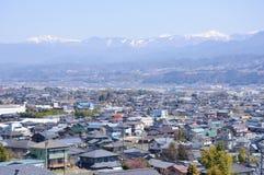 Bacino di Ina e le alpi del sud del Giappone Fotografia Stock Libera da Diritti
