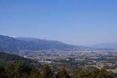 Bacino di Ina e le alpi del sud del Giappone Fotografia Stock