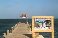 Bacino di legno al lungomare in San Pedro, Belize Fotografie Stock