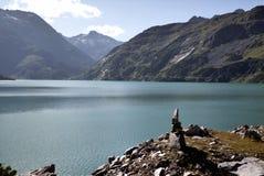 Bacino idrico della diga di Kolnbrein, Carinzia, Austria Immagine Stock