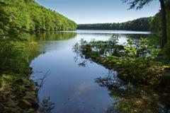 Bacino idrico di Crescent Lake nel parco del ` s Giuffrida di Meriden immagini stock