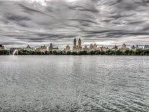 Bacino idrico di Jacqueline Kennedy Onassis Reservoir Central Park Immagine Stock