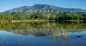 Bacino idrico di Wailua con le montagne di Makaleha Fotografie Stock Libere da Diritti