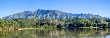 Bacino idrico di Wailua con le montagne di Makaleha Immagine Stock