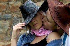 Bacio allegro fotografia stock libera da diritti