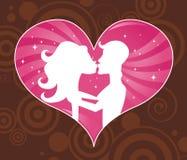 Bacio del biglietto di S. Valentino Fotografia Stock Libera da Diritti