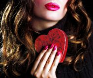 Bacio del biglietto di S. Valentino Immagine Stock